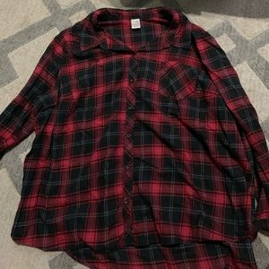 Red and black plaid button up